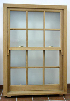 BMB Box Sash Window - light stain on oak hardwood